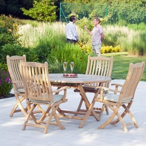 Alexander Rose Roble Garden 4 Carver Chair & Folding Round Table Set