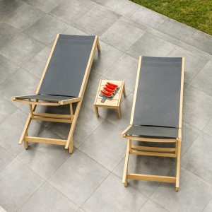 Alexander Rose Roble Garden Pair Charcoal Sling Beds & Side Table