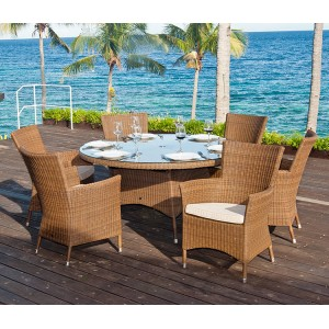 Alexander Rose San Marino 150cm Round Table With 6 Squared Armchairs