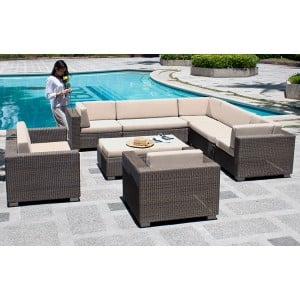 Alexander Rose San Marino Corner Lounge Set With Lounge Chair And Ottoman