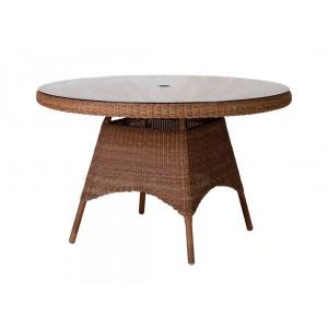 Alexander Rose San Marino Round Weave Garden 120cm Glass Top Table