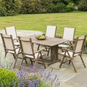Alexander Rose Sherwood Acacia Garden 6 Sling Chair Rectangular Table Set