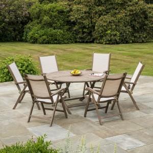 Alexander Rose Sherwood Acacia Garden 6 Sling Chair Folding Table Set