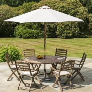 Alexander Rose Sherwood Acacia Garden 6 Seater Folding Dining Set
