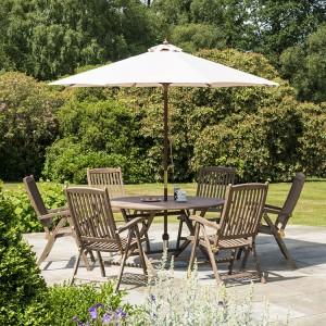 Alexander Rose Sherwood Acacia Garden 6 Wooden Seat Folding Table Set
