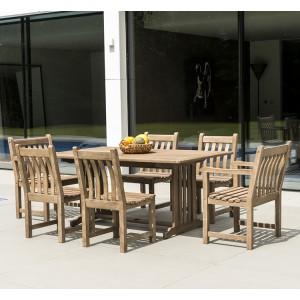 Alexander Rose Sherwood Acacia Garden 6 Seater Rectangular Table Set