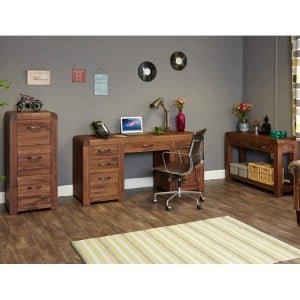 Shiro Solid Walnut Furniture Large Office Desk Package