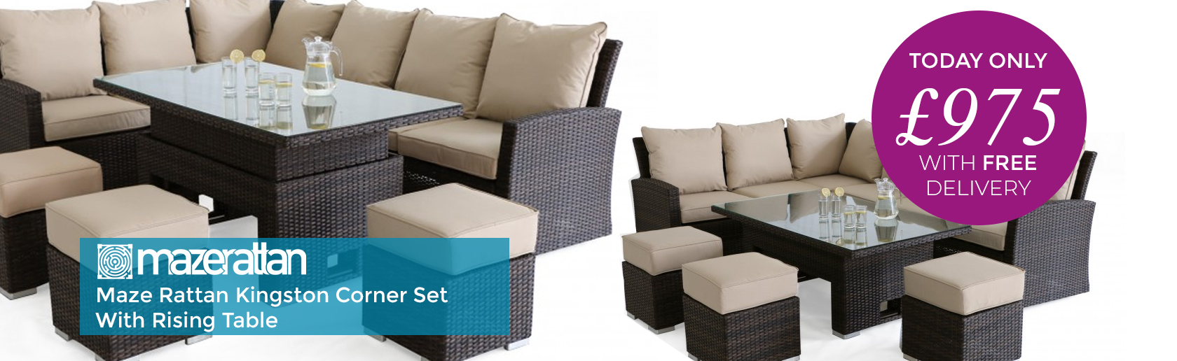Maze Rattan Kingston Brown Corner Set With Rising Table