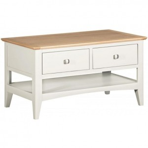 Alfriston White Painted Furniture Coffee Table with 2 Drawers