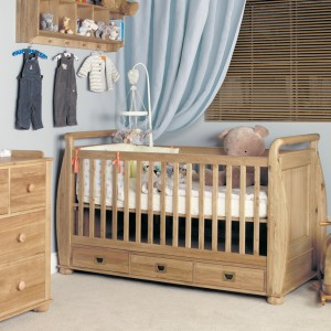 Amelie Oak Furniture Children's Cot Bed with 3 Drawers