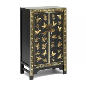 Nine Schools Oriental Furniture Decorated Black Medium Cabinet