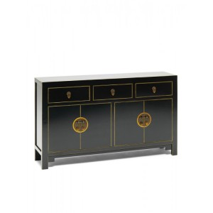 Nine Schools Oriental Furniture Qing Black and Gilt Large Sideboard