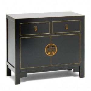 Nine Schools Oriental Furniture Qing Black and Gilt Small Sideboard