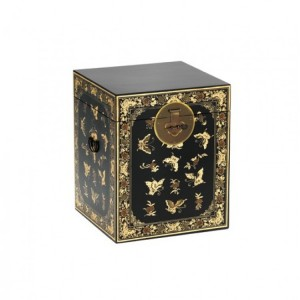 Nine Schools Oriental Furniture Decorated Black Trunk