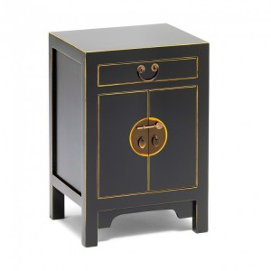 Nine Schools Oriental Furniture Qing Black and Gilt Small Cabinet