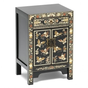 Nine Schools Oriental Furniture Black Floral Decorated Small Cabinet