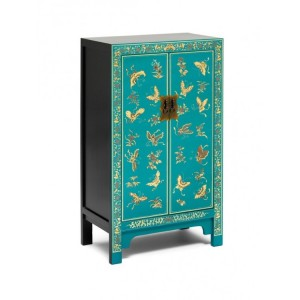 Nine Schools Oriental Furniture Decorated Blue Medium Cabinet