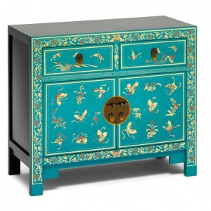 Nine Schools Oriental Furniture Blue Floral Decorated Small Sideboard