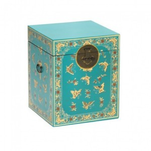 Nine Schools Oriental Furniture Decorated Blue Trunk