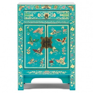 Nine Schools Oriental Furniture Blue Floral Decorated Small Cabinet
