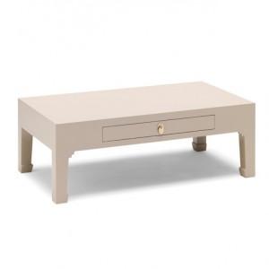 Nine Schools Oriental Qing Oyster Grey Coffee Table with Drawer