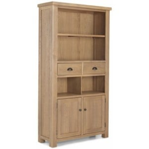 Alpha Oak Furniture 2 Door 2 Drawer Tall Bookcase