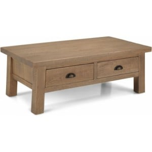 Alpha Oak Furniture 2 Drawer Low Coffee Table