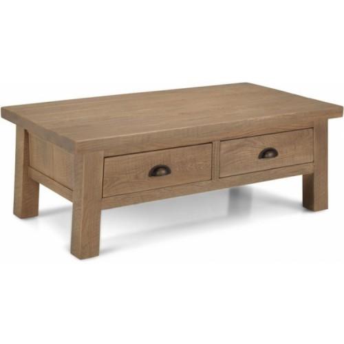 Alpha Oak Furniture 2 Drawer Low Coffee Table