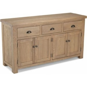 Alpha Oak Furniture Large 3 Drawer 4 Door Sideboard