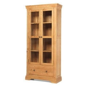 Beauly Oak Furniture 1 Drawer 2 Door Display Cupboard