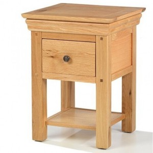 Beauly Oak Furniture 1 Drawer Lamp Table with Shelf