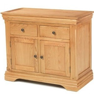 Beauly Oak Furniture 2 Door 2 Drawer Small Sideboard