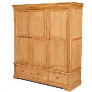 Beauly Oak Furniture 2 Drawer 3 Door Triple Wardrobe