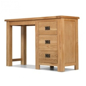 Coleshill Oak Furniture 3 Drawer Single Pedestal Dressing Table