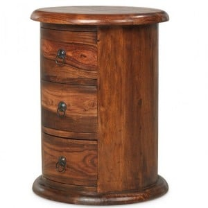 Kanpur Indian Sheesham Furniture 3 Drawer Drum Chest of Drawers