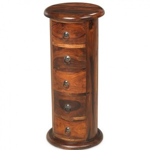 Kanpur Indian Sheesham Furniture 5 Drawer Slim Drum Chest of Drawers
