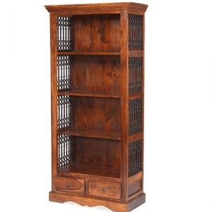 Kanpur Indian Sheesham Furniture Bookcase with 2 Drawers
