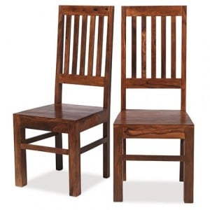 Kanpur Indian Sheesham Furniture High Back Slat Dining Chair Pair