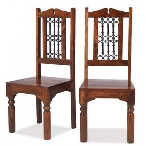 Kanpur Indian Sheesham Furniture High Back Dining Chair Pair
