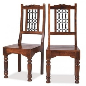 Kanpur Indian Sheesham Furniture Low Back Dining Chair Pair