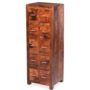 Mumbai Sheesham Indian Furniture 10 Drawer CD Unit