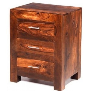 Mumbai Sheesham Indian Furniture 3 Drawer Bedside
