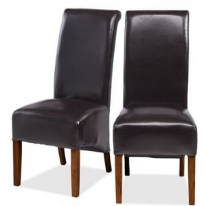 Mumbai Sheesham Indian Furniture Black Bonded Leather Chair Pair