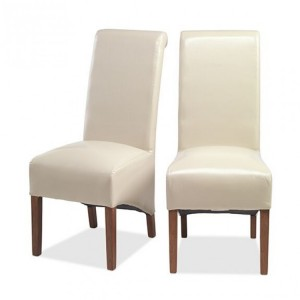 Mumbai Sheesham Indian Furniture Cream Bonded Leather Chair Pair