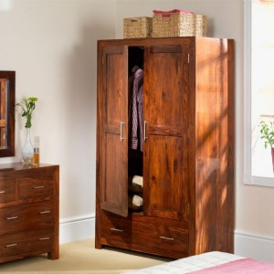 Mumbai Sheesham Indian Furniture Double Wardrobe