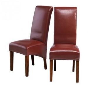 Mumbai Sheesham Indian Furniture Red Bonded Leather Chair Pair