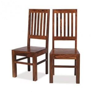 Mumbai Sheesham Indian Furniture Slat Back Dining Chair Pair
