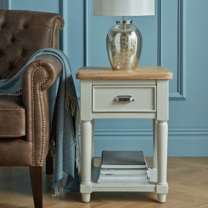 Summertown Painted Grey Furniture 1 Drawer Lamp Table with Shelf
