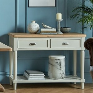 Summertown Painted Grey Furniture 2 Drawer Console Table with Shelf