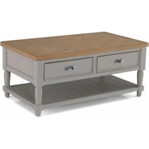 Summertown Painted Grey Furniture Coffee Table With 2 Drawers